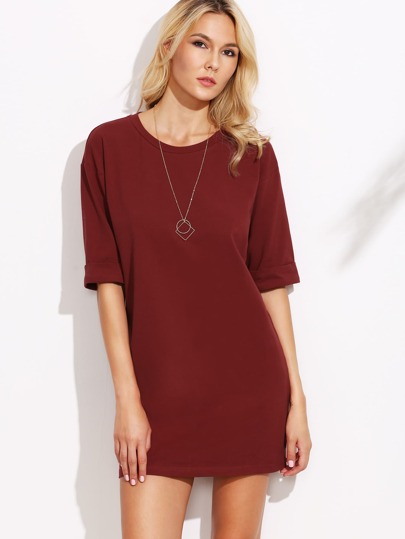 Burgundy Drop Shoulder Roll Sleeve Tee Dress