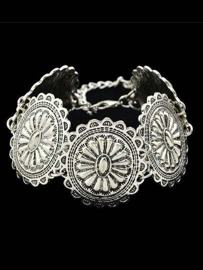 Indian Design Silver Color Flower Statement Bracelet