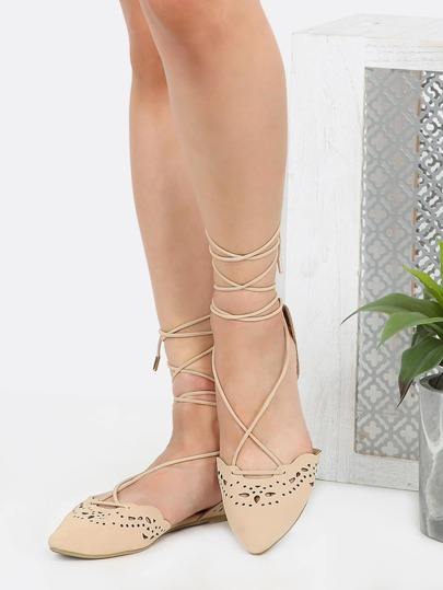 Pointy Toe Wrap Up Flats NUDE