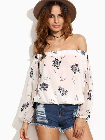White Floral Print Off The Shoulder Chiffon Top