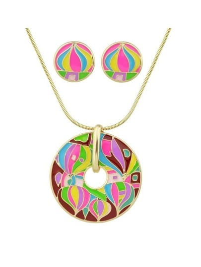 Hotpink Enamel Geometric Pattern Round Necklace Earrings Set