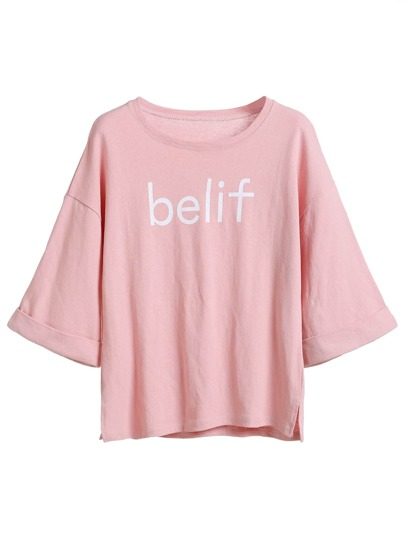 Pink Letter Print Side Split Cuffed T-shirt