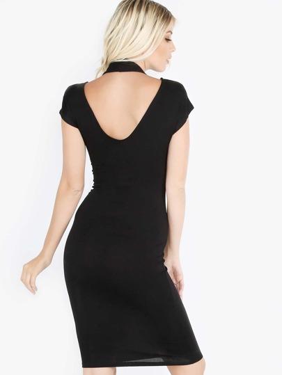 Short Sleeve Halter Midi Dress BLACK
