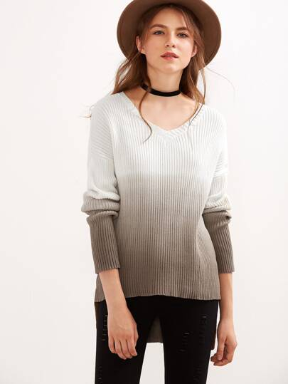 Ombre Drop Shoulder High Low Ribbed Sweater
