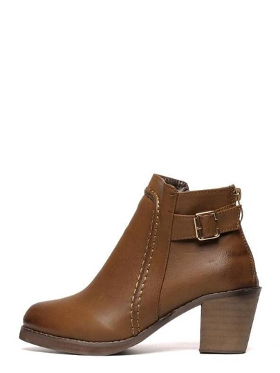 Brown Faux Leather Buckle Back Zipper Cork Heeled Boots