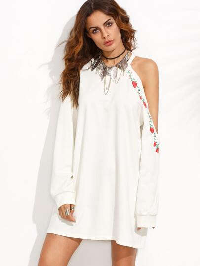 Ivory Cut Out Embroidered Long Sleeve Sweatshirt