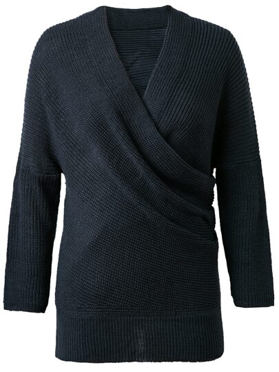 Navy Surplice Front Drop Shoulder Knit Sweater