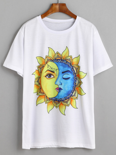 White Sun And Moon Graphic Print T-shirt