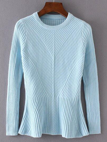 Blue Ruffle Hem Ribbed Sweater