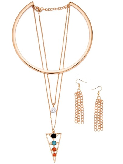 Gold Plated Layered Rhinestone Geometric Pendant Jewelry Set