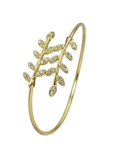 Gold Rhinestone Leaf Shape Adjustable Bracelet