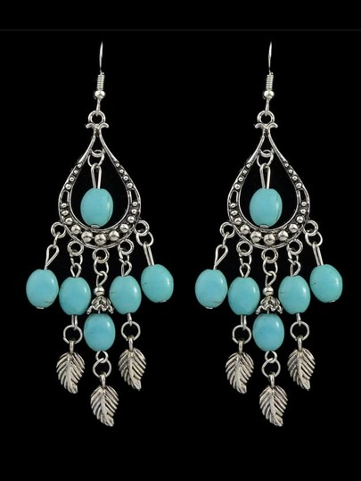 Vintage Imitation Turquoise Beads Chandelier Earrings