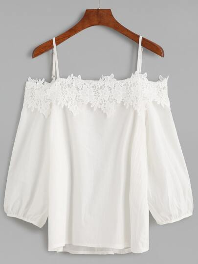 White Cold Shoulder Appliques Lantern Sleeve Top