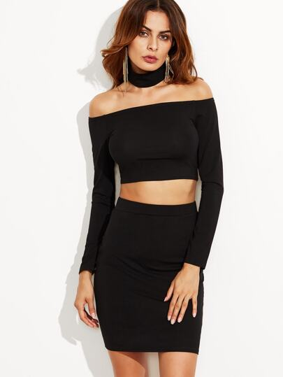 Black Off The Shoulder Crop Top Bodycon Skirt With Wide Choker