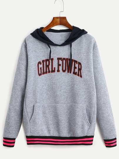 Grey Letter Print Striped Contrast Hooded Sweatshirt