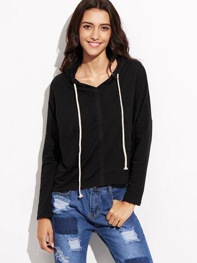 Black Drop Shoulder Pockets High Low Hooded T-shirt