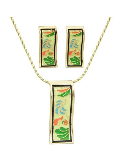 Green Enamel Geometric Pattern Necklace Earrings Set
