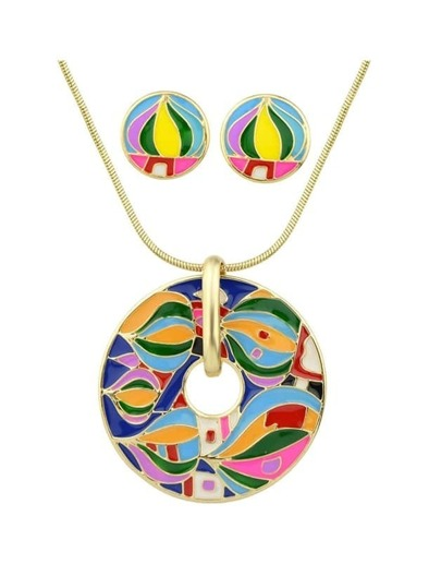 Darkgreen Enamel Geometric Pattern Round Necklace Earrings Set
