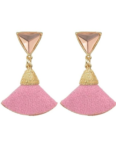Pink New Rhinestone Fan Shape Drop Earrings