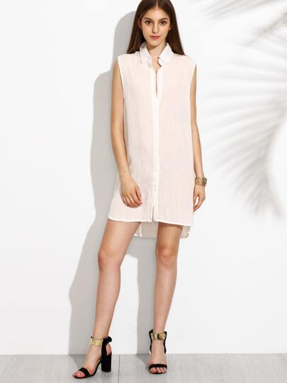 White Sleeveless High Low Shirt Dress