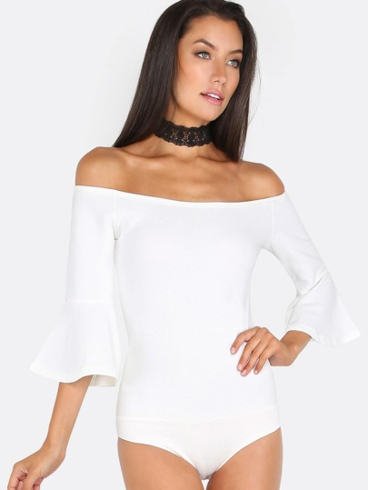 Bardot Flare Sleeve Bodysuit OFF WHITE