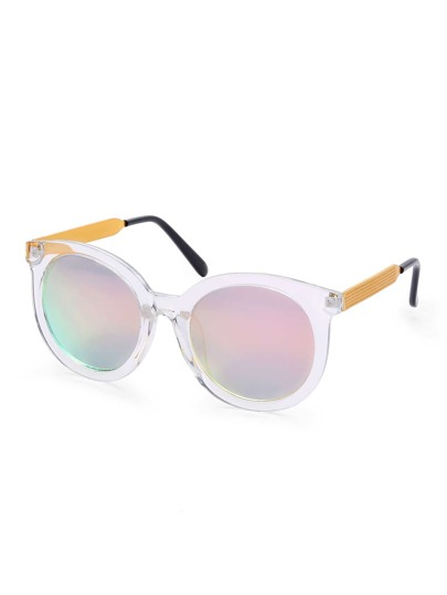 Clear Frame Iridescent Lens Sunglasses