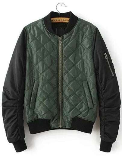 Green Contrast Sleeve Quilted Padded Bomber Jacket With Zipper