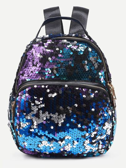 Faux Leather Iridescent Sequin Backpack
