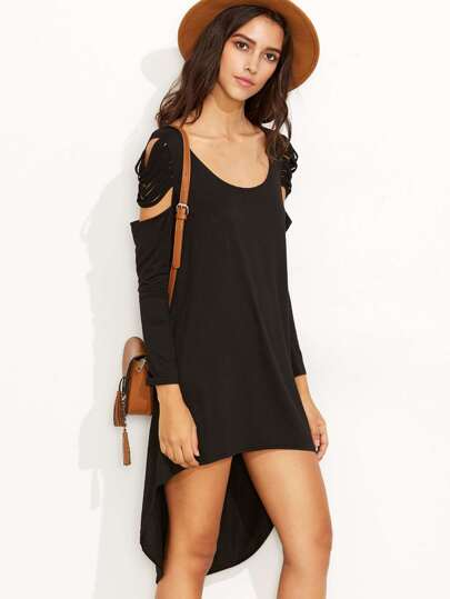 Black Open Shoulder Criss Cross Back High Low Dress