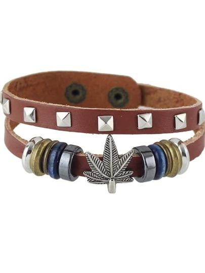 New Design Brown Pu Leather Adjustable Bracelet