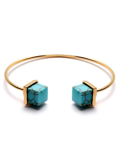 Gold Plated Geometric Turquoise Open Bangle