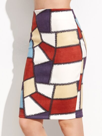 Patchwork Slit Back Pencil Skirt