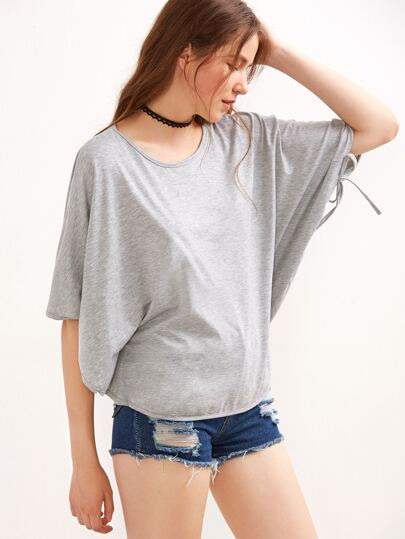 Grey Cape T-shirt With Tie Detail