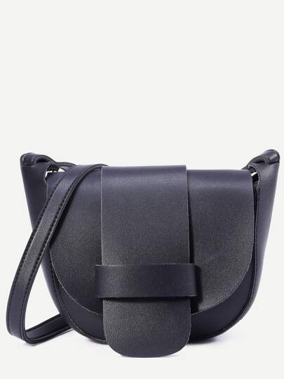 Black Faux Leather Crossbody Bag
