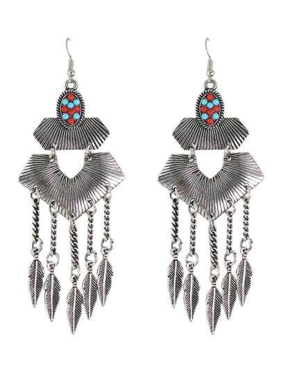 Antique Silver Indian Style Geometric Hanging Leaf Shape Chandelier Earrings
