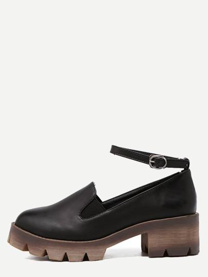 Chaussures en similicuir avec boucle - noir