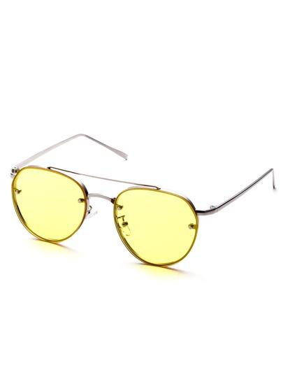 Metal Frame Double Bridge Yellow Lens Aviator Sunglasses