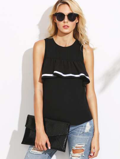 Black Striped Ruffle Trim Tank Top