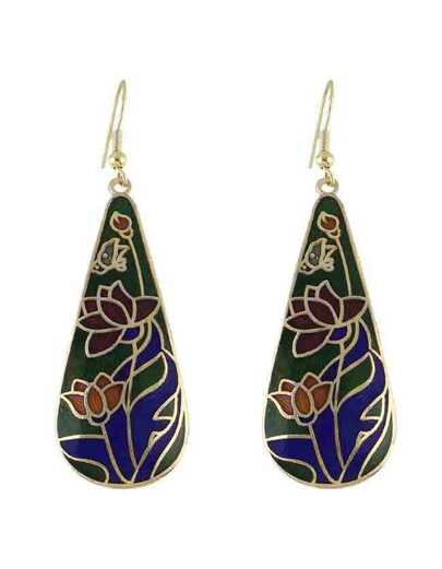 Green Flower Printed Drop Earrings