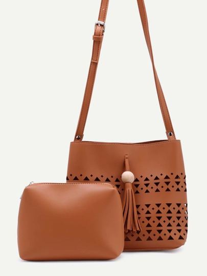 Brown Cutout Hollow Tassel Shoulder Bag With Makeup Bag