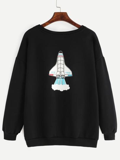 Black Letter And Plane Print Drop Shoulder Sweatshirt