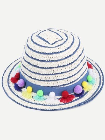 White Striped Pom Pom Embellished Straw Bucket Hat