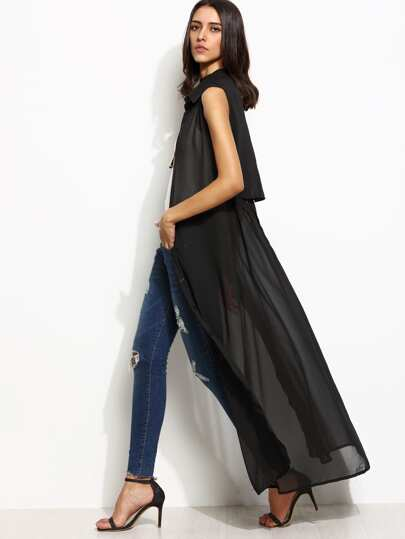 Black Sleeveless Layered Self Tie Chiffon Top