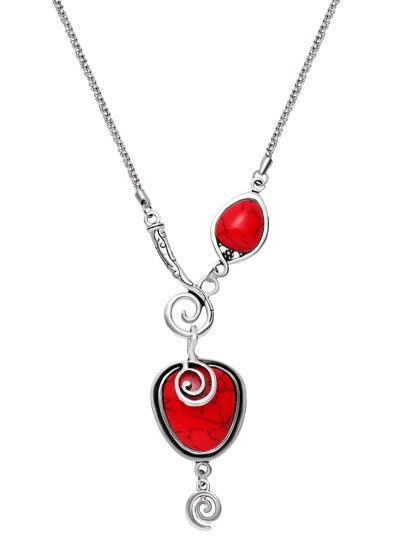 Red Gemstone Spiral Design Pendant Necklace
