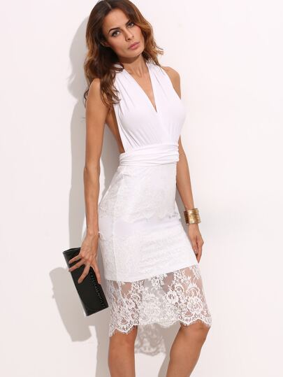 White Cut Out Lace Sleeveless Convertible Dress