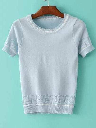 Blue Striped Trim Short Sleeve Sweater