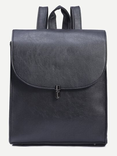 Black Pushlock Closure Structured Flap Backpack