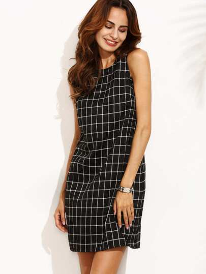 Black and White Plaid Cut Out Back Sleeveless Shift Dress