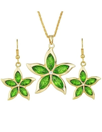 Green Rhinestone Flower Jewelry Set