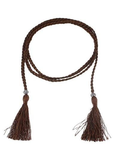 Coffee Long Boho Casual Tassel Belt